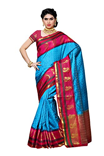 Mimosa By Kupinda Women's Tusser Silk Saree Kanjivaram Style Color :Sky Blue (3360-191-2D-AND-RNI)  available at amazon for Rs.1399