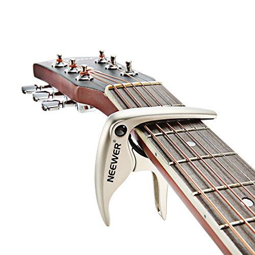 Neewer® Capotasto NW-19 Facile da Usare per Chitarra Acustica o Elettrica a 6 Corde, Basso, Ukulele, Banjo e Mandolino per Cambiamento di Tono Veloce, in Lega di Zinco Resistente e Robusta --