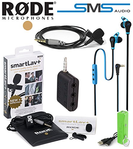 Rode Smartlav+ Bundle Lavalier Microphone For Iphone And Smartphones W/ Rode Sc6 Breakout Box, Power Bank Battery, Sms Audio In-Ear Headphone