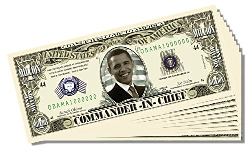 Barack Obama Commander-in-Chief Million Dollar Bill - 25 Count with Bonus Clear Protector & Christopher Columbus Bill