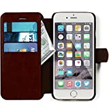 iPhone 6, 6s Wallet Case - Ultra Slim, Light Case - Apple iPhone 6, 6s (4.7) - Soft Dark Brown Leather (PU) - Credit Card ID Holder - Extra Strong Magnet - Travel Wallet - Luxury Protection for Cases