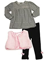 Calvin Klein - Infant Girls 3 Pc Vest and Legging Set, Pink, Black 32928-24Months