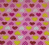 Pink Heart Print Poly Cotton Fabric - Fat Quarter