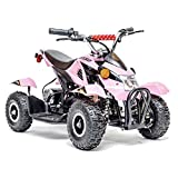 Rosso Motors Kids ATV Kids Quad 4 Wheeler Ride On with 500W 36V Battery Electric Power Lights in Pink Motorcycle for Girls, Disc Brake System for Child Safety (Color: Blue)