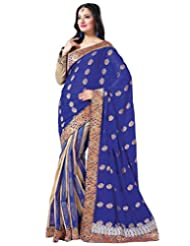 Deepika Cream Cotton Jacquard And Royal Blue Faux Georgette Saree With Blouse