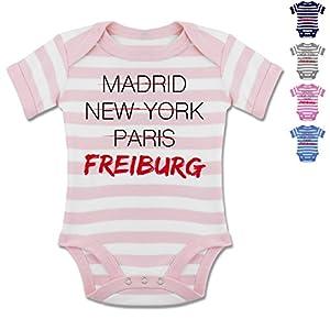 BZ10S Baby Stripy Bodysuit Strampler Body Säuglinge kurzarm Envelope Ausschnitt Gestreift - Städte & Länder Baby - Weltstadt Freiburg