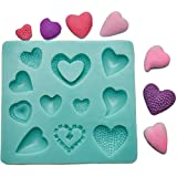 Andrew James Silicone 11 in 1 Heart Icing Fondant Mould Ideal For Decorating Cakes, Cupcakes And Cookies Includes 2 Year Warranty