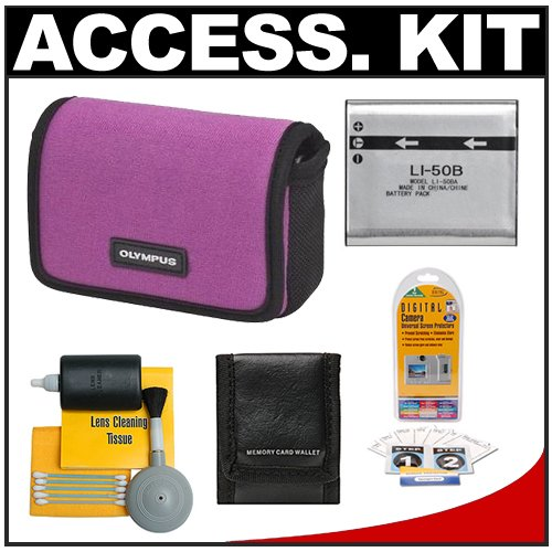 Olympus Water-Resistant Sport Neoprene Case (Plum) + Li-50B Battery + Accessory Kit for Stylus 9000, 9010, TOUGH 8010, 6020 Digital Cameras