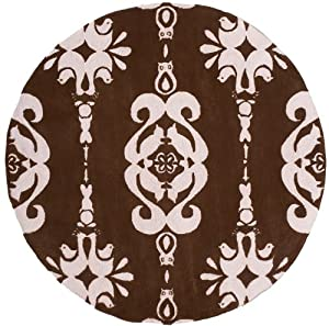 "5' x 5' Round Oscar Isberian Rugs Area Rug Soft Pink Color Hand Hooked China ""Lil Mo Classic Collection"""