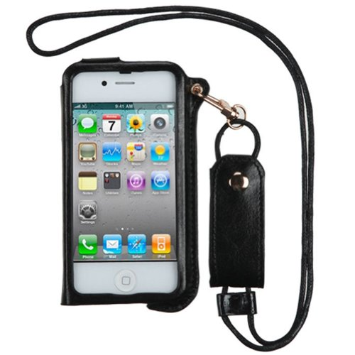 Leather Flip Case Stand Lanyard Card Holder for