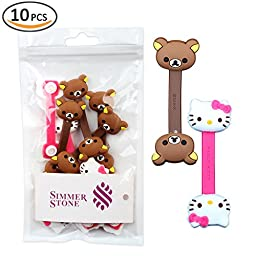 New Cute Monsters University Disney Cartoon Hello Kitty Cable Tie Cord Organizer Headset Headphone Earphone Wrap Winder/ Fixer Holder/cord Manager/cable Winder (3PCS cable Winder hello kitty & 1PCS Brown Bear & 1PCS Beige Bear)