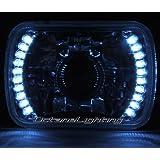 OCTANE LIGHTING 1-7X6 White Led Halo Projector Halogen Crystal Headlight Angel Eye Light H4 Bulb