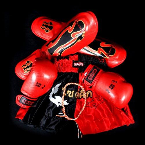 Sidekick Kids Inferno Muay Thai Boxing Gloves Shorts Shin Pad Set