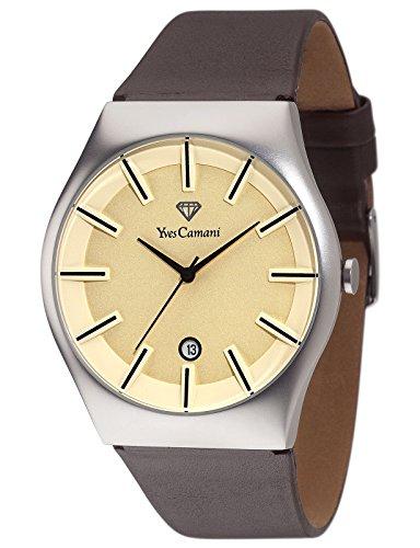 Yves Camani - YC1068-L - Loann - Montre Homme - Quartz Analogique - Cadran Beige - Bracelet Cuir Marron