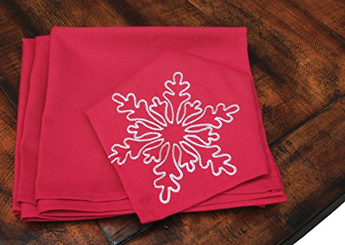 "Xia Home Fashions Snowy Noel Embroidered Snowflake Christmas Napkins (Set of 4), 20 by 20"", Red and White"