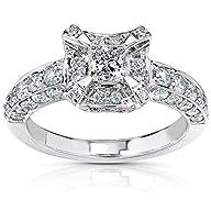 Diamond Engagement Ring 1 1/6 Carat (ctw) in 14K White Gold