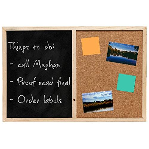 Wall Mounted Wooden Black Chalk Board / Cork Board Message Memo Bulletin Combo - MyGift®