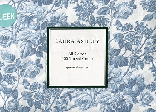 Laura Ashley Crawford Blue Sheet Set, Queen Size (Laura Ashley Bed Sheets compare prices)