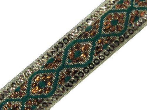 4.5 Yd Green Metallic Bronze Border Ribbon Trim Sewing