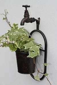 support de plante mural m tallique simple avec robinet d coratif finition cuivre ancien amazon. Black Bedroom Furniture Sets. Home Design Ideas