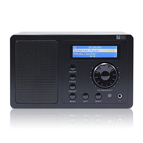 Ocean Digital Internet Radio WR220BP Portable Wireless WiFi WLAN Receiver Tuner Connection Built-in Battery Music Media Player Alarm Clock LCD Display- Black (Wifi Radio Portable compare prices)
