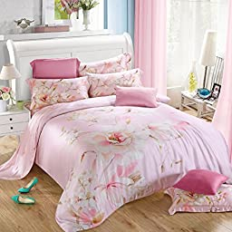 TheFit Paisley Textile Bedding for Adult U181 Pink Relax FloralDuvet Cover Set 100% Tencel, Queen King Set, 4 Pieces (Queen)