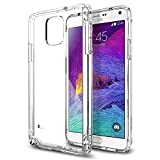 Galaxy Note 4 Case, Spigen® [Air Cushioned Bumper] Galaxy Note 4 Case Bumper **NEW** [Ultra Hybrid] [Crystal Clear] Scratch Resistant Bumper Case with Clear Back Panel for Samsung Galaxy Note 4 (2014) - Crystal Clear (SGP11117)