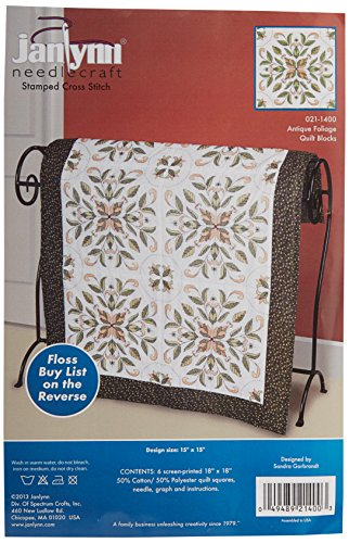 Janlynn Antique Foliage Quilt Blocks Stamped Cross Stitch-15 by 15-Inch, 6 Per Package (Cross Stitch Quilt Blocks compare prices)