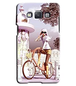 Clarks Girl On Bicycle Hard Plastic Printed Back Cover/Case For Samsung Galaxy A7