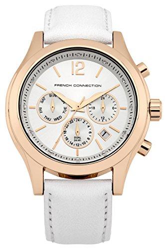 French connection Damen-reloj analógico de pulsera de cuarzo cuero FC1230WG
