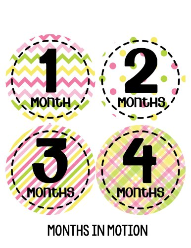 Months in Motion 269 Baby Month Stickers for Newborn Girl Pink Green Yellow - 1