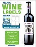 Neato Blank Vinyl Wine Bottle Labels - 40 pack - Perfect for Birthday - Wedding - Engagement - Bridal - Baby Shower - Glossy - Water Resistant - Removable - Online Design Software Included