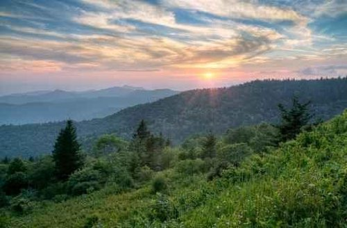 Sky Wall Decals Mountains Summer Sunset Landscape on Blue Ridge Parkway Evening