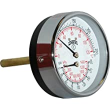 "Winters TTD Series Steel Dual Scale Tridicator Thermometer with 2"" Stem, 0-200psi/kpa, 3"" Dial Display, ±3-2-3% Accuracy, 1/2"" NPT Back Mount, 30-250 Deg F/C"