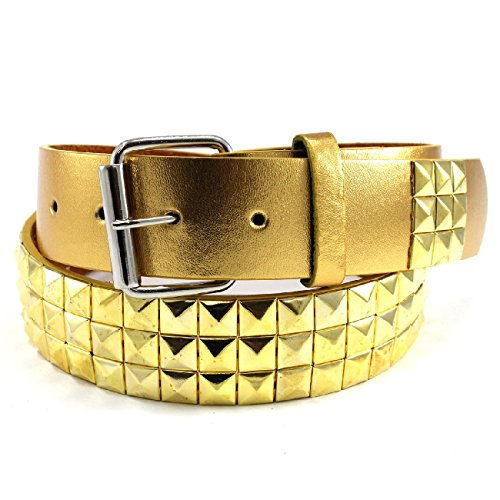 TDmall Metal Studded Leather Stud Belt Plain Pyramid Punk Rock Emo Solid Mens Womens Gold Stud Belt