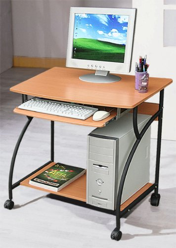 Portable Computer Cart / Desk on Wheels, Cherry Finish w/ CPU stand
