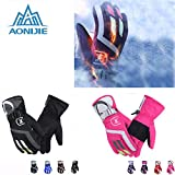 Generic Male Black : AONIJIE Onesize Women Men Warm Waterproof Winter Skiing Gloves Outdoor Sports Hiking Camping...