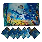Positive Feeling Cool Relaxing 3D Printed Holographic Sea Life Design Placemats For Table 6 Mats + 6 Coasters...