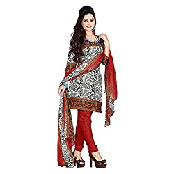 M Fab Printed Red Cotton Un Stitched Dress Material