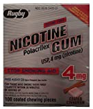 Rugby Nicotine Polacrilex Gum USp, 4mg (nicotine_ Stop Smoking Aid 4 mg 100 coated cinnamon pieces