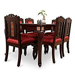 ExclusiveLane Teak Wood 6 Seater Dining Table & Chair With Warli & Dhokra Work