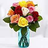 12 Vibrant Birthday Roses Bouquet - Flowers