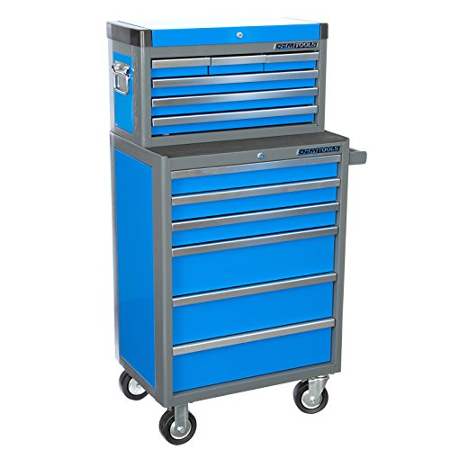 OEMTOOLS 24599 Blue 26″ 12 Drawer Chest and Cabinet Combo