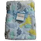Cutie Pie Dinosaur Baby Blanket (Blue, Green & Gray Dinosaurs)