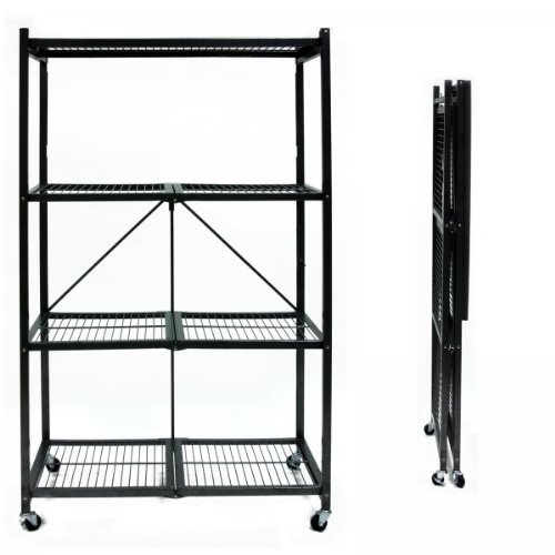 Images for Origami R5-01W General Purpose 4-Shelf Steel Collapsable Storage Rack with Wheels, Large