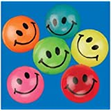 Mini Neon Smile Face Bouncing Balls (144 pc)