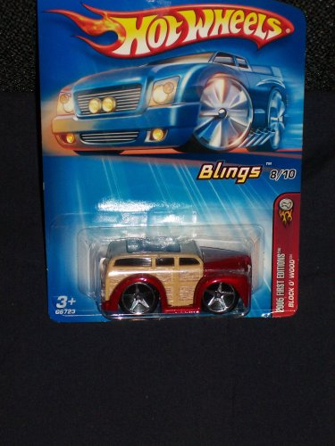 Hot Wheels 2005 First Editions Blings 8/10 Block 'O Wood Maroon and Brown on 2004 Style Card 1:64 Scale - 1