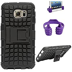 DMG Dual Hybrid Hard Grip Rugged Kickstand Armor Case for Samsung Galaxy S6 Edge (Black) + Mobile Holder Hand Stand