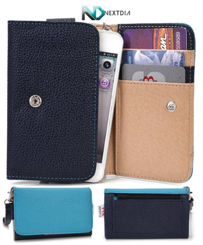 Cell Phone Case Wallet For Lg Optimus L4 Ii Dual E445 [ Black / Electric Blue ] Stylish Wristlet And Clutch Holds Phone And Cards! Plus Nextdia ™ Velcro Cable Strap