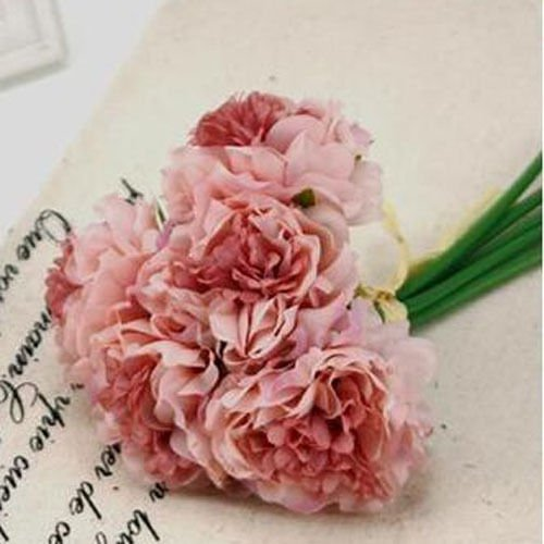 Pink Wedding Rose Peony Silk Flowers Bouquet Single Arrangements Artificial Decor (Single Aerosol Can Holder compare prices)